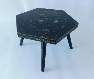 Small Antique Stencil Decorated Wooden Stool with Hexagon Shaped Top & Legs