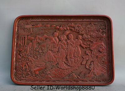 "14.2"" Qianlong Marked Old China Red Lacquerware Dynasty Beauty Woman Plate Tray"