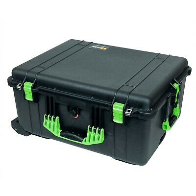 Black & Lime Green Pelican 1610 case. With Foam. With wheels.