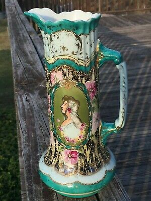 "Lovely 9"" ART NOUVEAU CAMEO Style Porcelain TANKARD PITCHER GOLD BEADED TRIM"