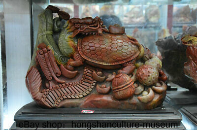 """16"""" Natural Shoushan Stone Carved Dragon tortoise turtle Wealth Lucky Sculpture"""