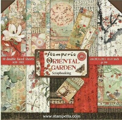 "Stamperia Oriental Garden 8"" x 8"" Scrapbook Papers 2020 Release"