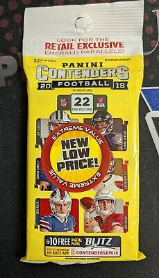 2018 Panini Contenders Football Value Pack 22 Cards Emerald Parallels Sealed