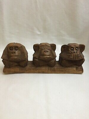 RARE Vintage Hand Carved Wooden 3 MONKEYS~Hear See Speak No Evil