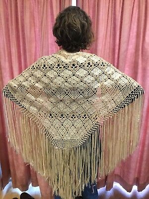 Vintage Cream Silky Ribbon , Macrame Shawl With Long Fringe.Lovely Bridal Shawl.