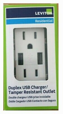 Leviton T5632-W USB Outlet 15 Amp, Decora Tamper-Resistant Receptacle -White