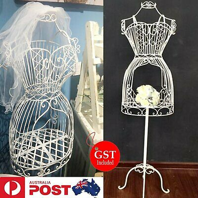 Female Metal Mannequin Vintage Iron Clothes Wire Dress Boutique Holder Display A