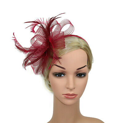 Women Fascinator Feather Hat Lady Wedding Tiara Cocktail Party Hairpin Headband