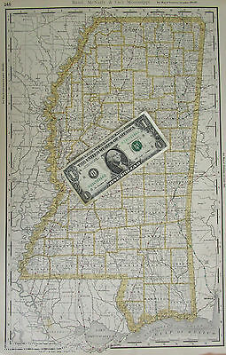 1888 Dated MISSISSIPPI RAILROAD Map. Rand McNally Shippers Guide MS Railway Map