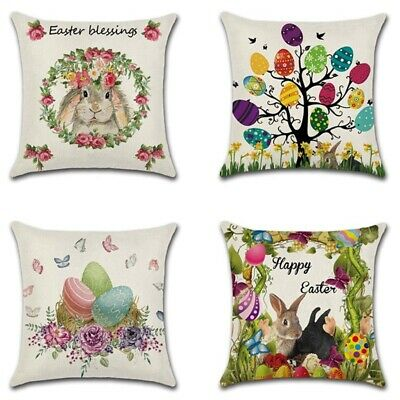"""Spring Easter Pillow Covers Cases Decorative Cushion Sofa Couch Rabbit Bunny 18"""""""