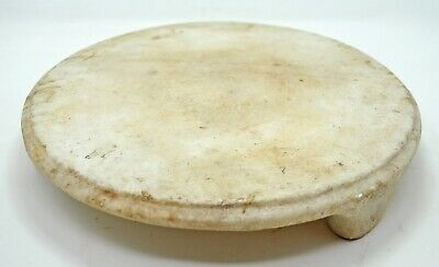 Antique White Marble Chapati Rolling Plate Original Old Hand Carved Kitchenware