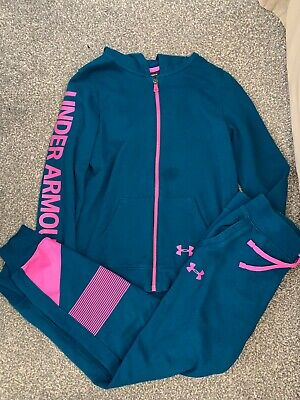 Under Armour Girls Green Pink Tracksuit Youth Large UA Zip Up Hoody Pants Age 14