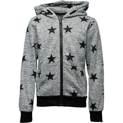 Fluid Girls Zip Through Hoody With Star Print Grey/Black Age 13 LN003 KK 12