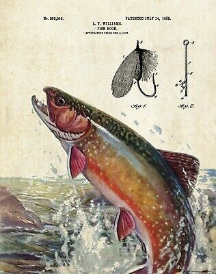 Official Rainbow Trout Fishing Lure US Patent Art Print Antique Fly Fish 376