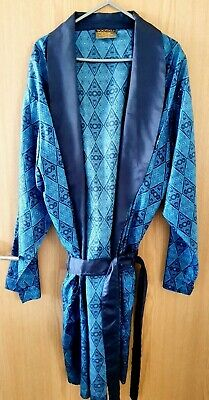 Mens Vintage 1960s/70s TOOTAL Dressing Gown Robe Blue Acetate