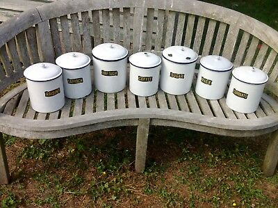 7 Antique Enamel Storage Tins From A Yorkshire Stately Home Kitchen Untouched.