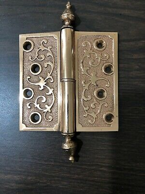 "Antique Victorian Ornate 4 1/2"" x 4 1/2 "" Brass Hinge, Patent Date Jan. 18, 1870"