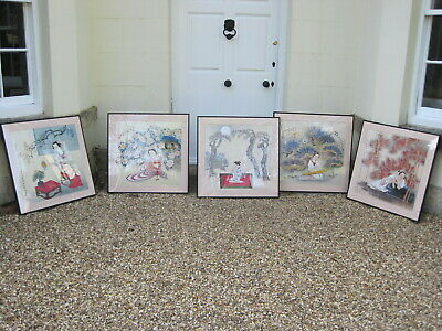 Set of 5 Large Framed and Mounted Japanese Woodblock Prints