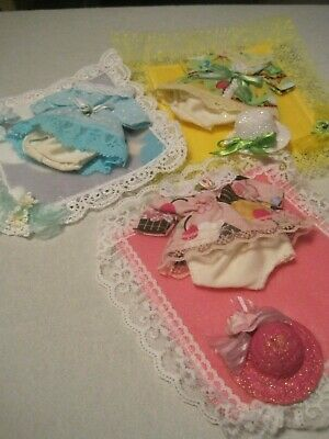 "Set of 3 Dress outfit with blankets fits 5-6-7"" baby dolls"