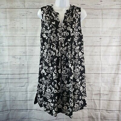Old Navy Womens Tunic Sz Large Black White Floral Sleeveless Pleated
