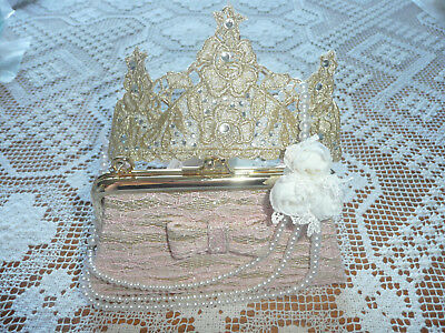 BNWT Monsoon Girls Accessories Set (Lace Bag+Tiara+Pearl Necklace)/ RRP £26.50