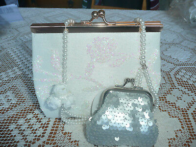 BNWT Monsoon Girl Accessories Set (Rose Bag+Bag Charm+Pearl Necklace)/ RRP£26.50