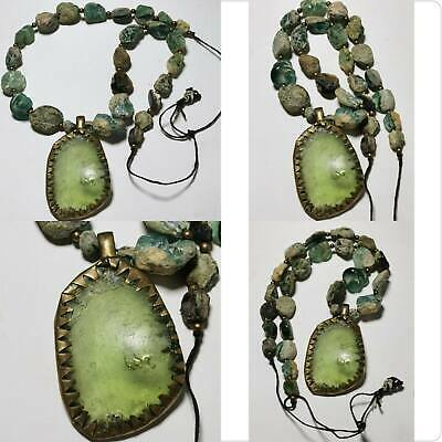 Lovely Ancient Roman Glass Beads & Glass pendant Strand Necklace # 161