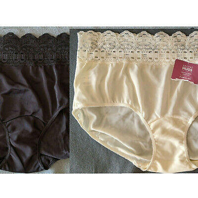 Lot of 2 NWOT Olga Secret Hugs Nylon & Stretch Lace Hipster Bikini Panties L