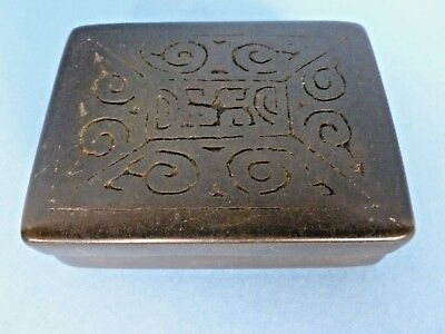 Chinese Archaic Style Art Deco Bronze Cigarette Trinket Box Chic C.1930's-40's