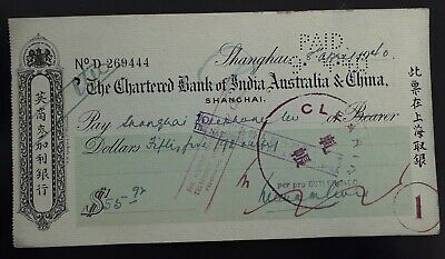 RARE 1940 China Chartered Bank of India Australia & China Cheque for $55.92 Used