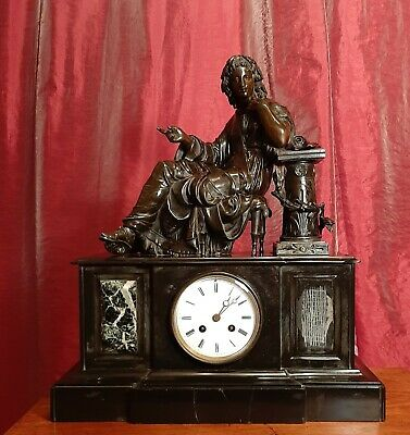 Antique French 8 Day Striking Slate Mantel Clock with Spelter Statue, Large 1855