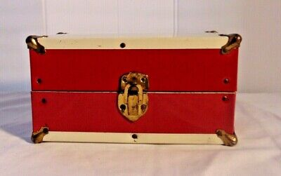 Toy Red Metal Doll Clothes Travel Case American Made For  Dolls Red & White