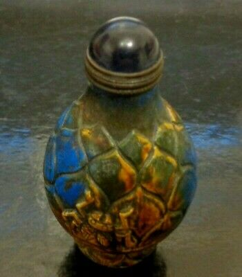"""Vintage Chinese Carved Blue Lapis or Sodalite Snuff Bottle  3"""""""