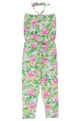 NWT Tilii Girls Floral Tropics Cotton Jumpsuit Playsuit Size 12 or 14 or 16