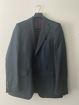 Zara Man Dark Blue Poly Blend Two-Button Slim Straight Leg Suit Size 38 (EUR 48)