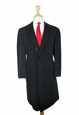 INCREDIBLE Vintage Sulka Pure Cashmere 44R/44L Black Overcoat Topcoat Long Mens