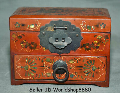"6.2"" Antique Chinese Wood Lacquerware Dynasty Drawer Flower Jewelry box Chest"