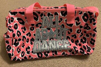 Justice Girls All About Dance Pink Cheetah Print Duffle Duffel Bag Lined 17X8X10