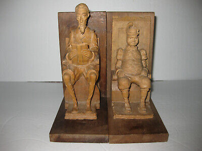 Vintage Wood Carved Book Ends Figurines Of Sancho Panza and Don Quixote