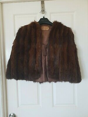 J. JACKSON & SON Dark Brown Real Fur Vest Shawl Coat C27