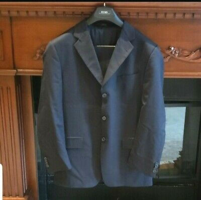 JOSEPH ABBOUD Mens Suit 3 Button Wool Navy Blue Size 40R