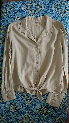 New Anthropologie Cloth & Stone Beige Button Up Shirt Tie Front Detail size XS