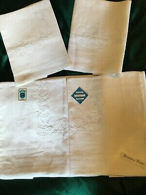 Stunning Vintage PURE LINEN Bed Sheet Set Hand Embroidered. Italy As New QS KS