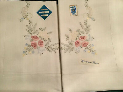 Magnificent Vintage PURE LINEN Bed Sheet Set Hand Embroidered Italy As NEW QS KS