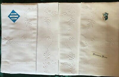 Elegant PURE LINEN & COTTON Métis Bed Sheet Set. Hand Embroidery Italy NEW QS KS