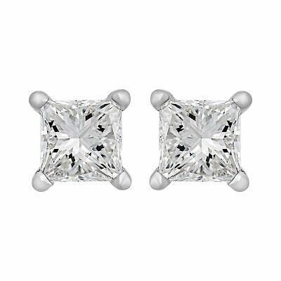 Estate 14K White Gold Princess Diamond Stud Earrings