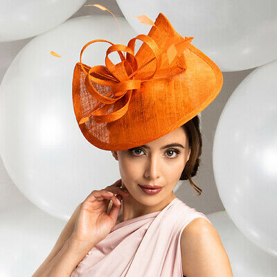 Orange Fascinator shaped sinamay with loops & feathers Wedding races new