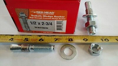 RED HEAD Trubolt Wedge Anchor 1/2 x 2-3/4, Box 25 pcs Concrete Anchors Free Ship