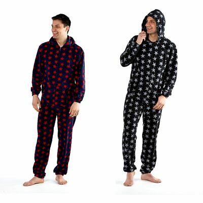 Mens Star Hooded Fleece All In One Pyjamas Pyjama PJs Black/Blue Size S M L