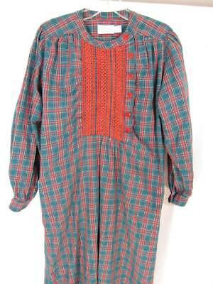 Lands End Vintage Nightgown Plaid Sz Small Embroidered Green Red Long Sleeve Vtg